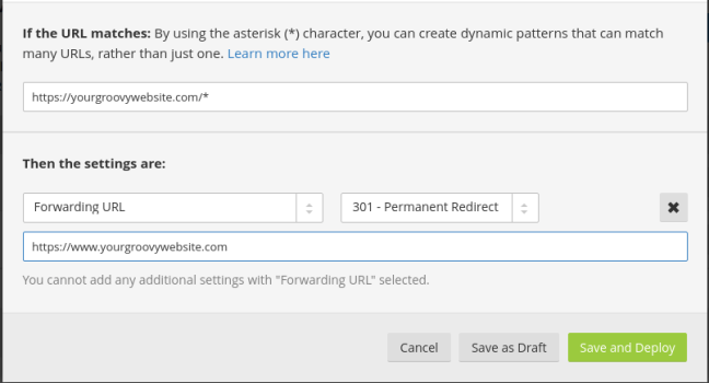 redirect non-www to www urls settings for cloudflare
