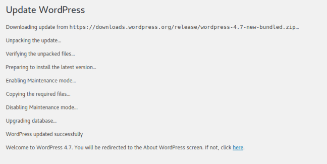 Update WordPress to version 4.7 Vaughn