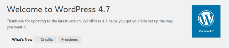 Welcome to WordPress 4.7