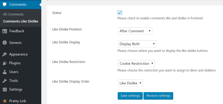 Comments Like Dislike Plugin Configuration