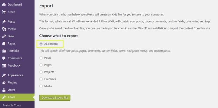 Export all content from WordPress