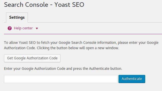 Yoast Google Search Console Authorization
