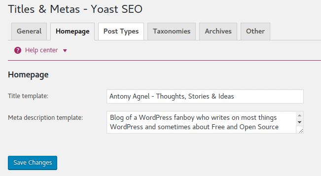 Yoast Home Meta Settings
