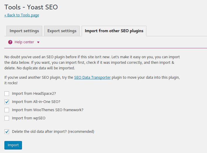 Yoast Import SEO Settings