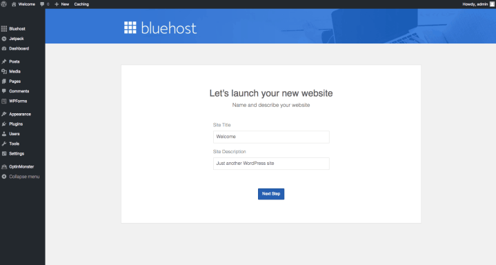 Bluehost WordPress General Settings
