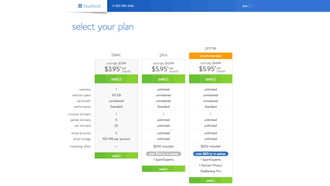 Bluehost WordPress Web Hosting Plans