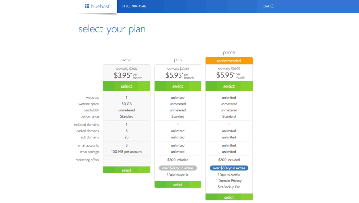 Bluehost WordPress Web Hosting Plans