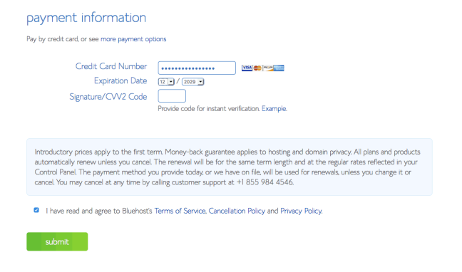 Bluehost payment information (credit card + PayPal)