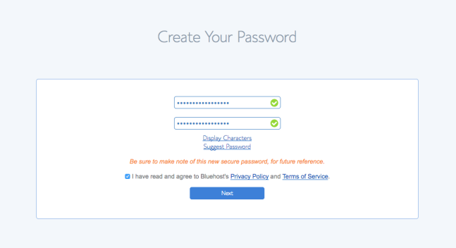 Accept Bluehost Privacy Policy and Terms of Service