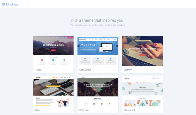 Select WordPress theme on Bluehost