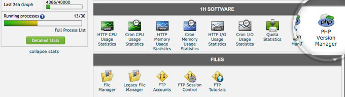 cPanel PHP Version Manager