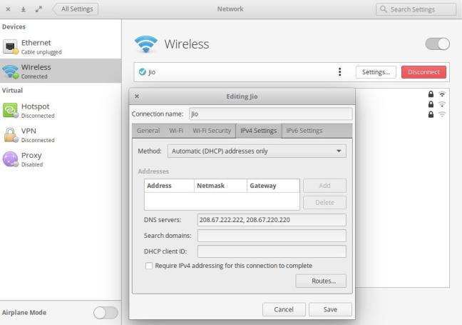 Wireless IPv4 Settings Elementary OS
