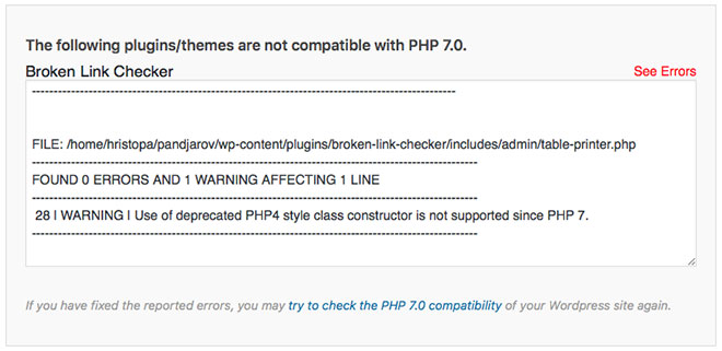 SiteGround PHP7 Incompatible Plugins
