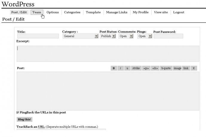 WordPress Version 0.70