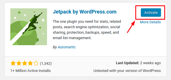 Activate Jetpack by WordPress.com