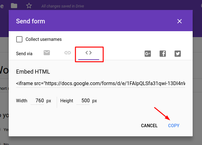 Google Forms Copy Embed Code Example Screen