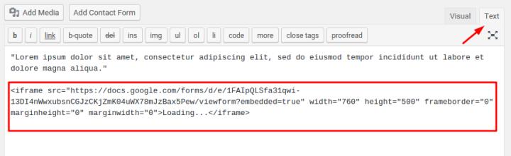 Google Forms Paste Embed Code in WordPress Sample Screen