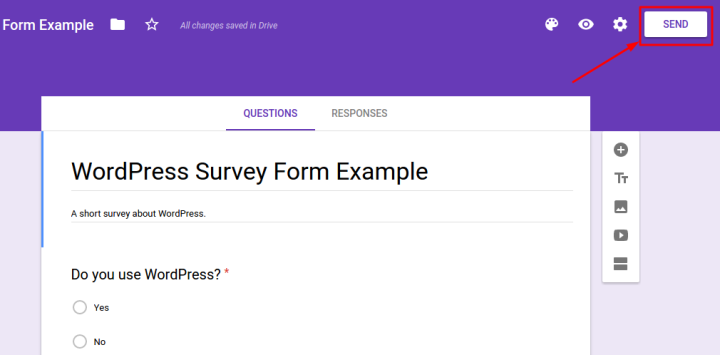 Google Forms Send Button Example