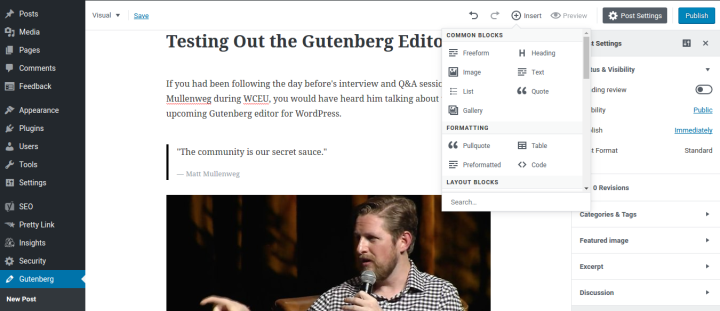 Testing the new WordPress Gutenberg Editor