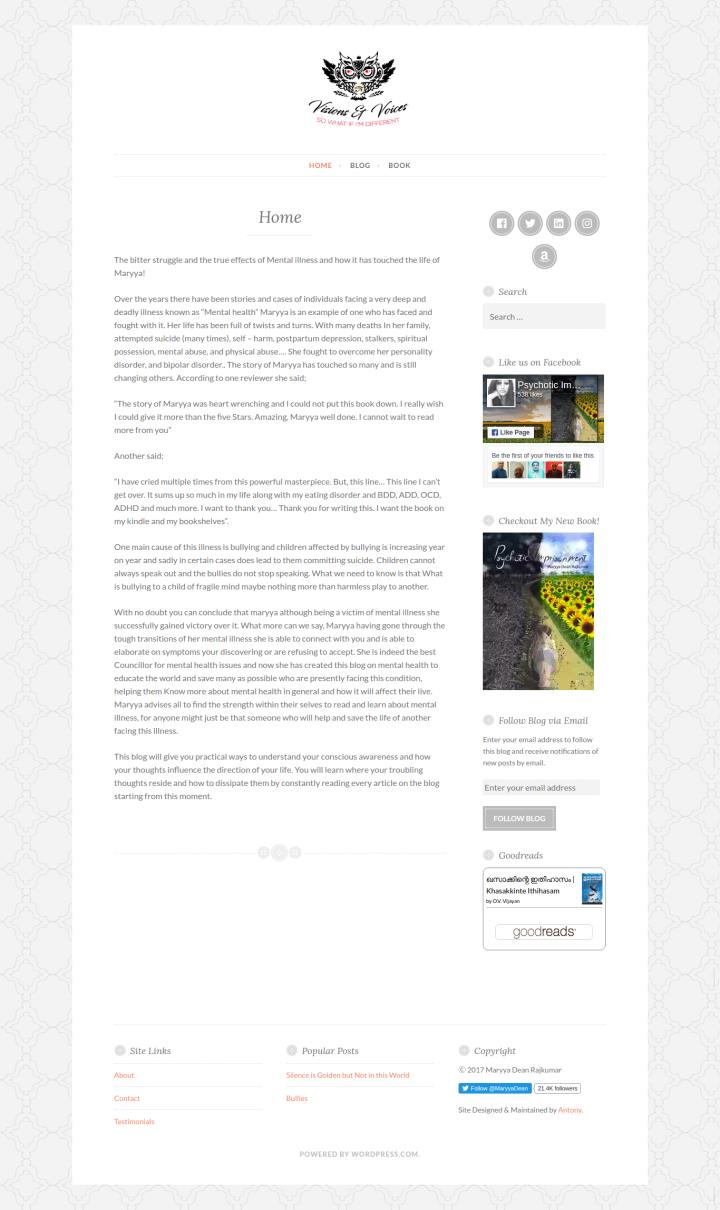 UK Author Maryya Dean Rajkumar - Personal Site & Blog