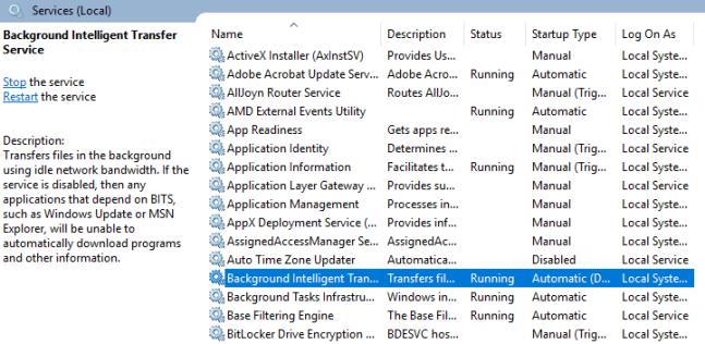 Windows 10 Background Intelligent Transfer Service (BITS)
