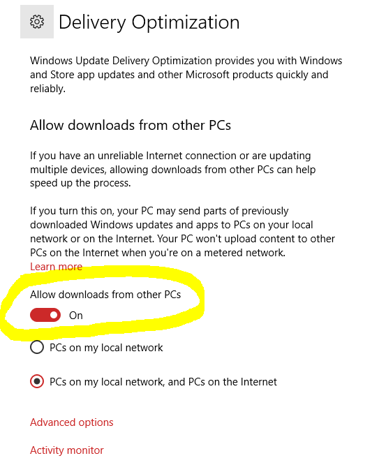 Windows 10 Updates Delivery Optimization - Disable Allow downloads from other PCs