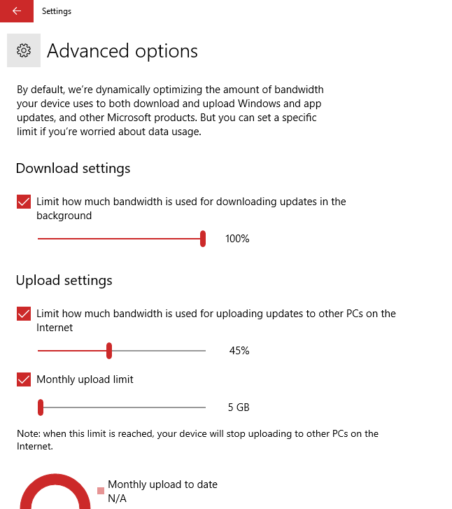 Windows 10 Updates Delivery Optimization Advanced Settings