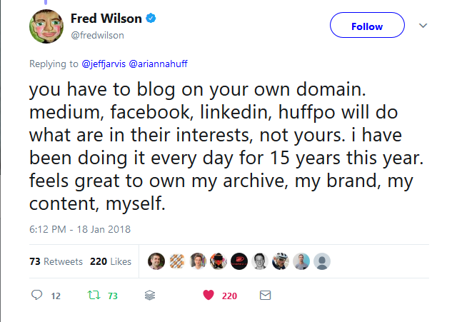 Fred Wilson Blog On Your Own Domain Tweet