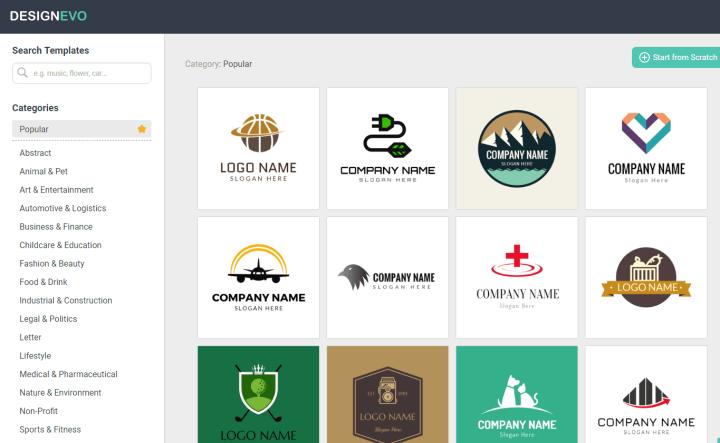 DesignEvo Free Logo Creator - Make A Logo Page