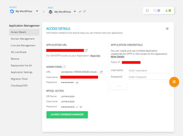 Cloudways Application Management Console