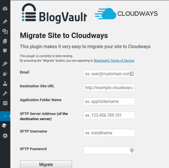 BlogVault - Migrate Site To Cloudways