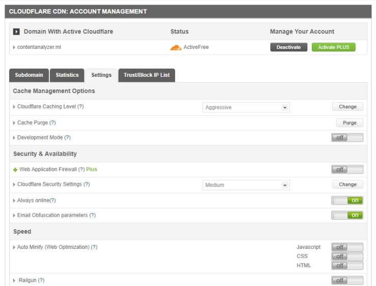 Cloudflare Free CDN Account Management - cPanel