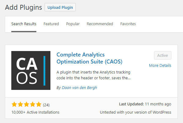 Complete Analytics Optimization Suite (CAOS) WordPress Plugin