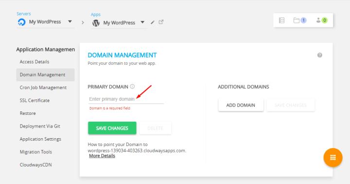 Domain Management Console - Cloudways