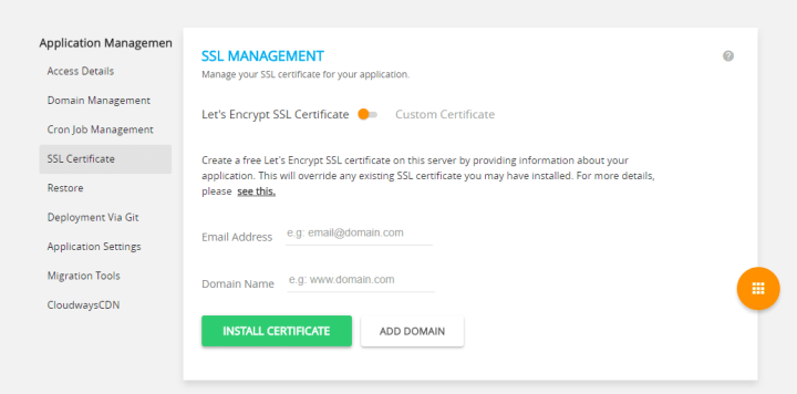 Install Free (Lets Encrypt) SSL Certificate In Cloudways