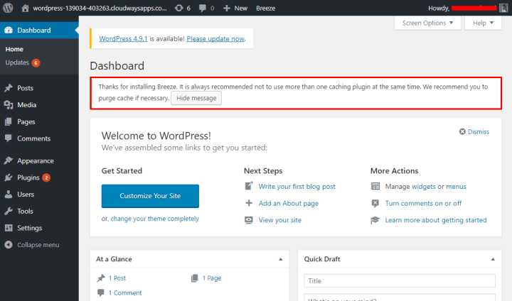 WordPress Custom Dashboard wp-admin On Cloudways