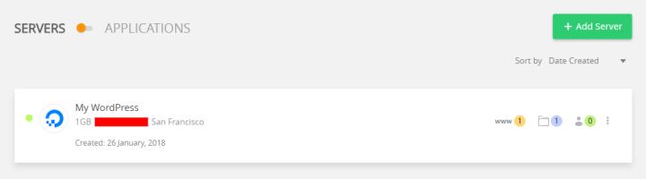 WordPress Server Dashboard
